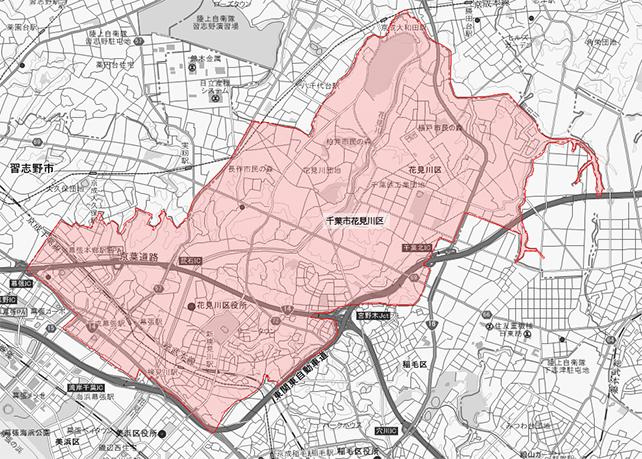 千葉県千葉市中央区花見川区地図
