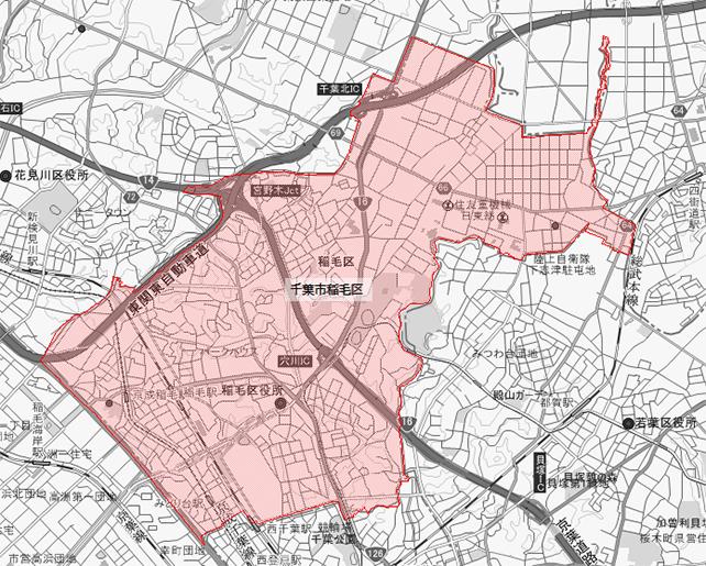 千葉県千葉市中央区稲毛区地図