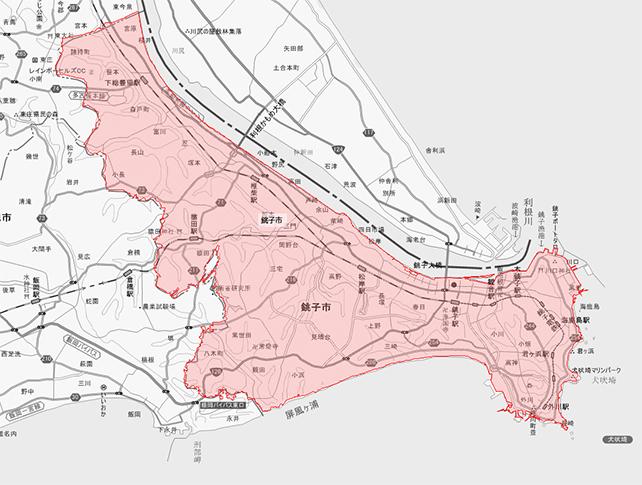 千葉県銚子市地図