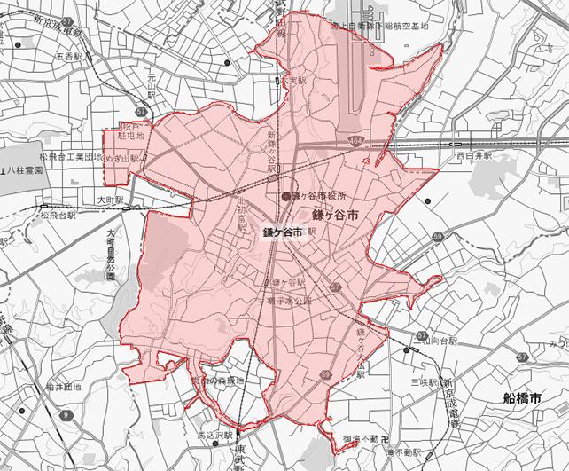 千葉県鎌ヶ谷市地図