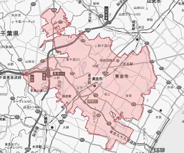 千葉県東金市地図