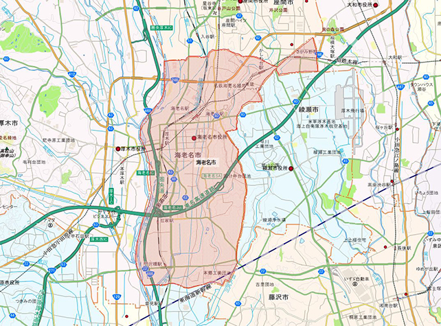 神奈川県海老名市地図