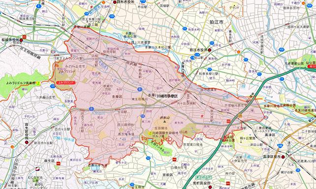 東京都川崎市多摩区地図