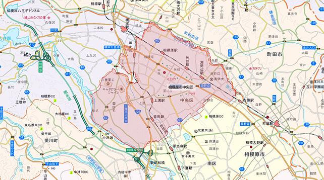 東京都相模原市中央区地図