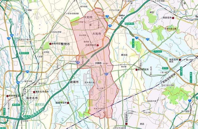 神奈川県大和市地図