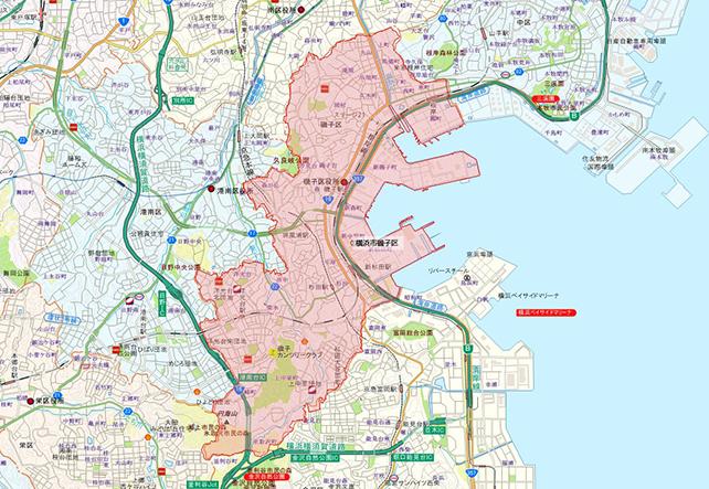 東京都横浜市磯子区地図