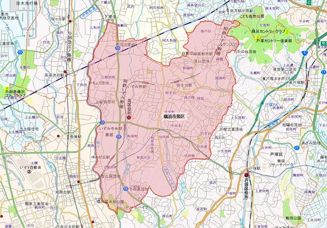 東京都横浜市泉区地図