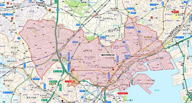 東京都横浜市神奈川区地図
