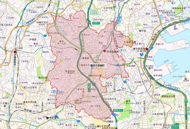 東京都横浜市港南区地図