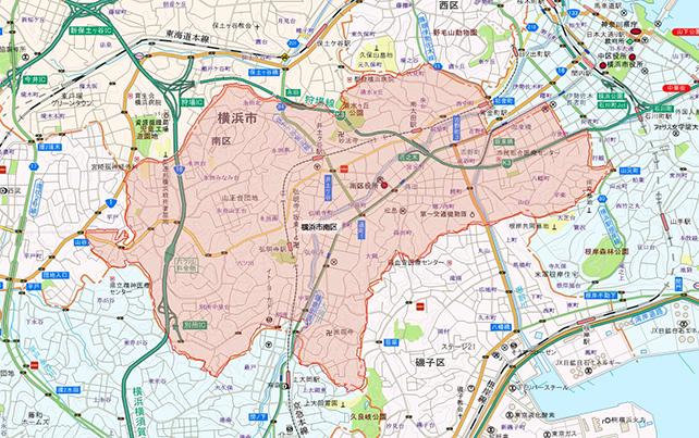 東京都横浜市南区地図