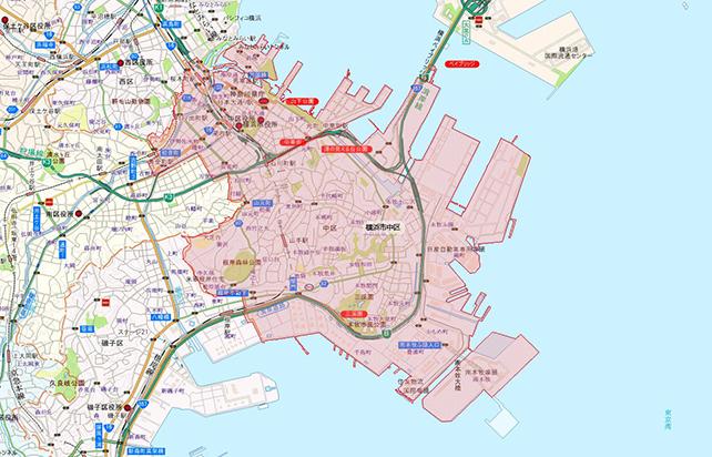 東京都横浜市中区地図