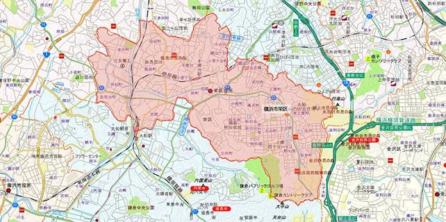 東京都横浜市栄区地図