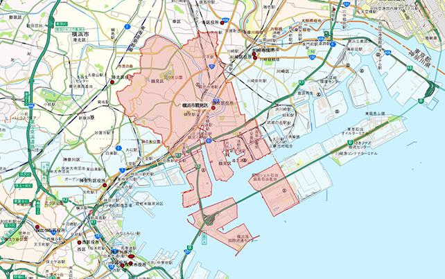 東京都横浜市鶴見区地図