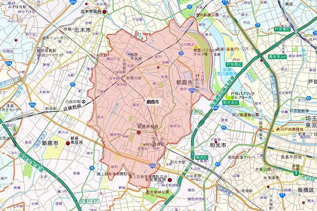 埼玉県朝霞市地図
