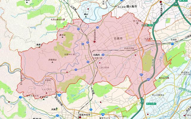 埼玉県日高市地図