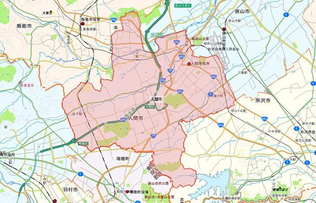 埼玉県入間市地図