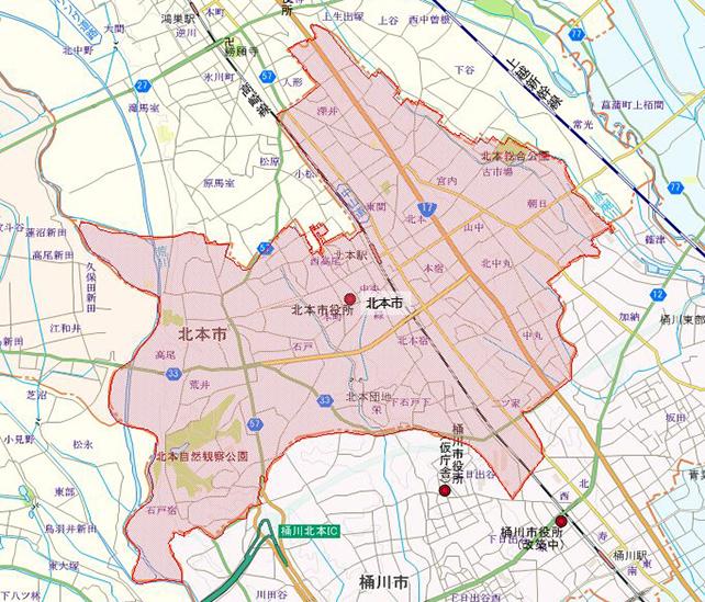 埼玉県北本市地図