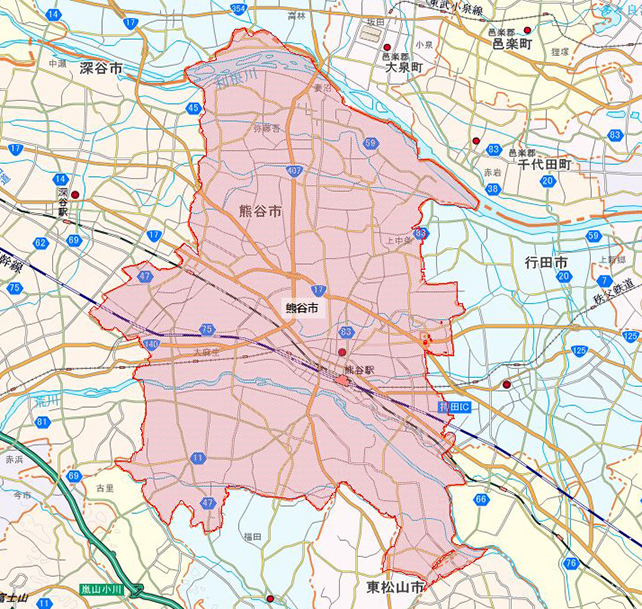 埼玉県熊谷市地図