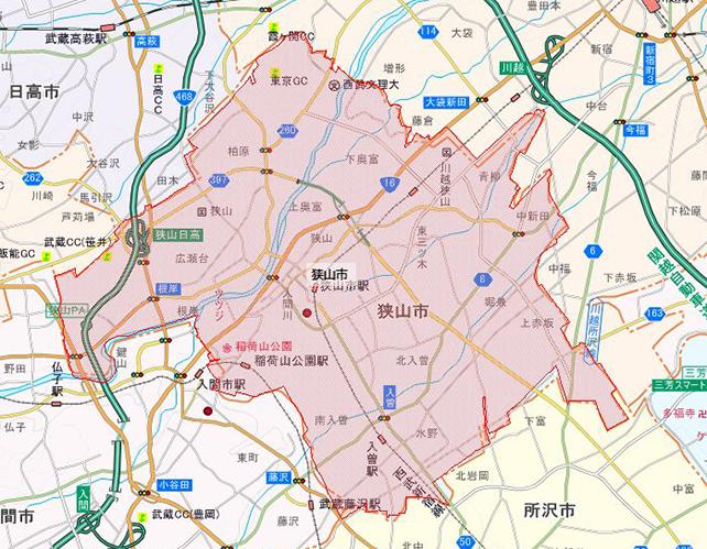 埼玉県狭山市地図