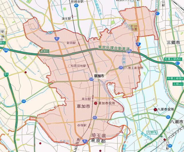 埼玉県草加市地図