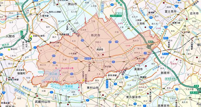 埼玉県所沢市地図