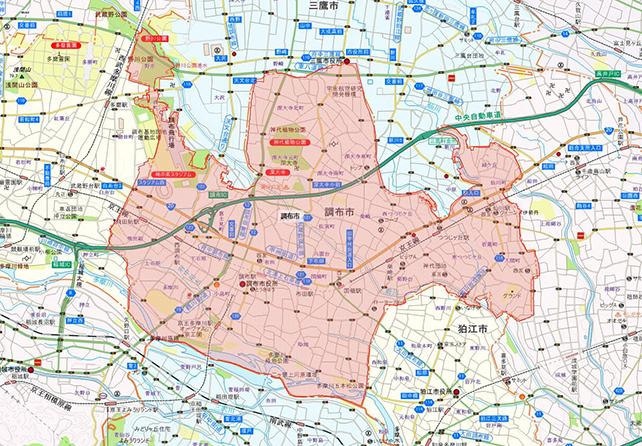 東京都調布市地図