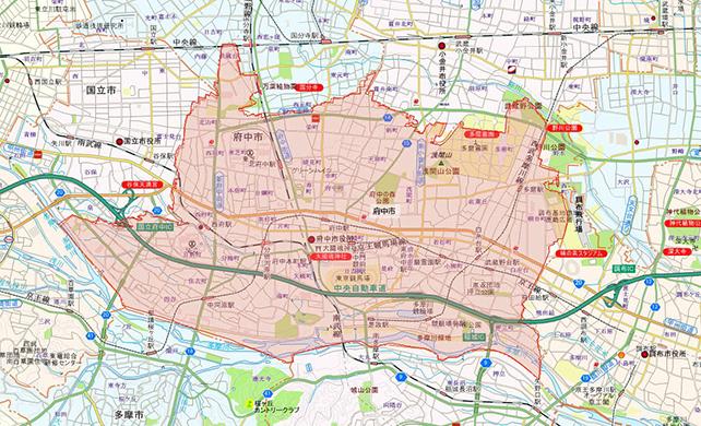 東京都府中市地図