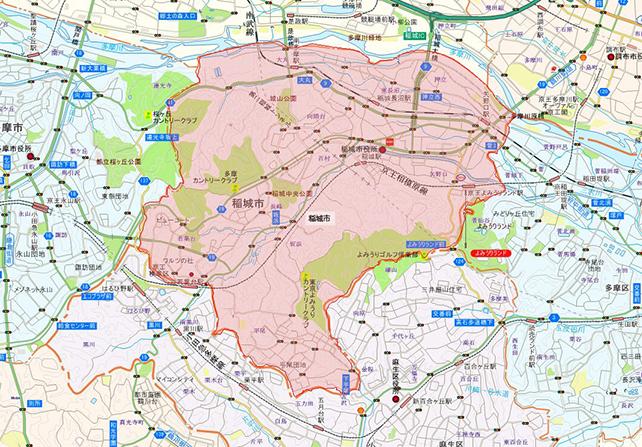 東京都稲城市地図