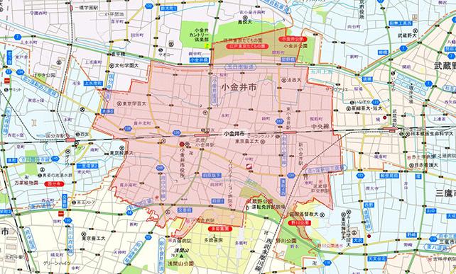 東京都小金井市地図