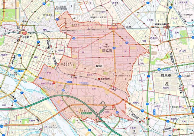 東京都国立市地図