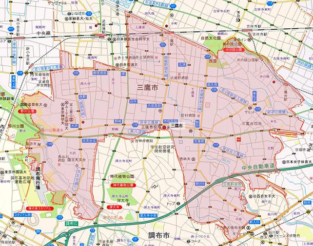 東京都三鷹市地図