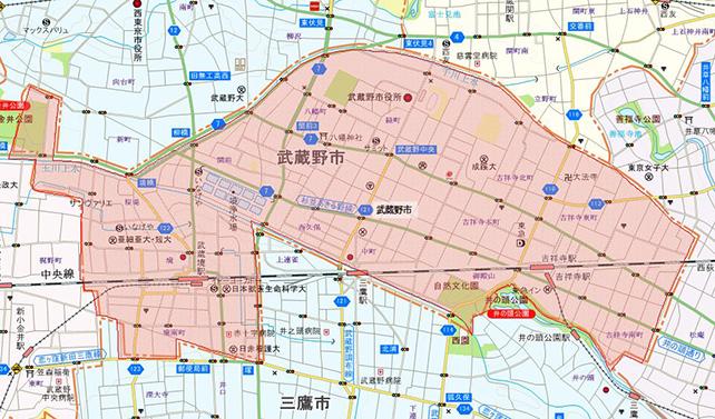 東京都武蔵野市地図