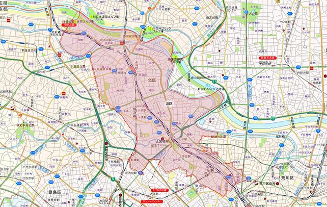 東京都北区地図
