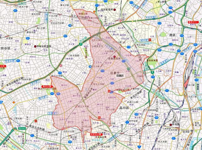 東京都目黒区地図