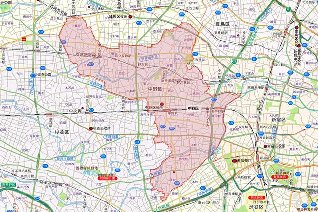 東京都中野区地図