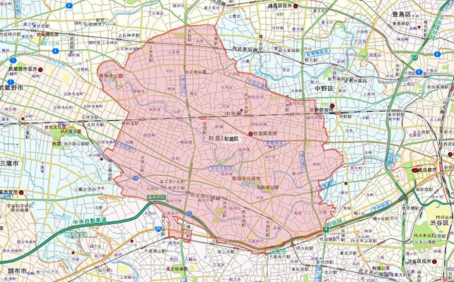 東京都杉並区地図